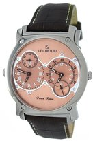 Le Château #SS335_ROSEGOLD Men's Viajero Collection Dual Time Zlone Leather Band Watch