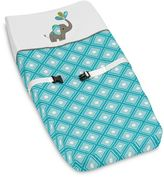 Sweet Jojo Designs Mod Elephant Changing Pad Cover in Turquoise/White