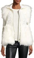 Moncler Fur-Trim Crocheted Lace Vest, White