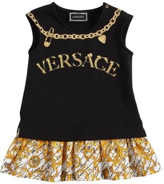 Versace Logo Print Cotton Jersey Dress