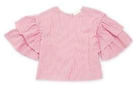 Soprano Girl's Striped Flutter Sleeve Top