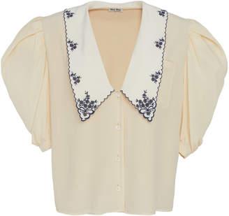 Miu Miu Collared V-Neck Button Down Top Size: 36