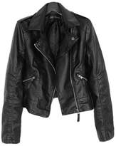 Ikerenwedding Women's Moto Bomber Hoodie Faux Leather Jacket