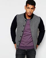 Scotch & Soda Bomber Jacket In Wool & Contrast Sleeves - Grey