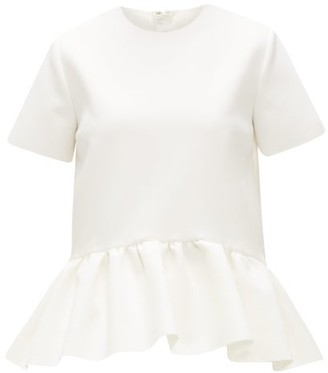 MSGM Peplum-hem Crepe Top - Womens - White