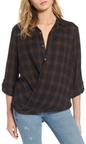 Blank NYC Women's Blanknyc Hot Cocoa Plaid Surplice Top