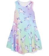 Urban Smalls Green & Purple Unicorns Sublimated Skater Dress - Toddler & Girls