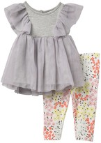 BCBGMAXAZRIA Ruffle Yoke Blouse & Printed Leggings Set (Baby Girls)