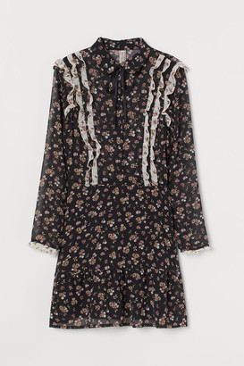 H&M Ruffled Chiffon Dress - Black