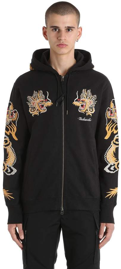 MHI Dragon Embroidered Zip Jersey Sweatshirt