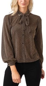 Belldini Women's Black Label Metallic Button Down Collared Knit Top with Tie-Neck