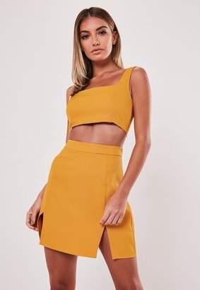 Missguided Mustard Co Ord Double Split Mini Skirt