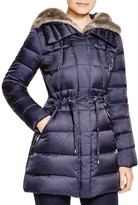 Laundry by Shelli Segal Drawstring Quilted Coat with Faux-Fur Trim