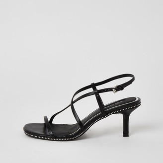 River Island Black beaded strappy low heel sandals