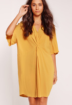 Missguided Kimono Sleeve Knot Front Dress Yellow