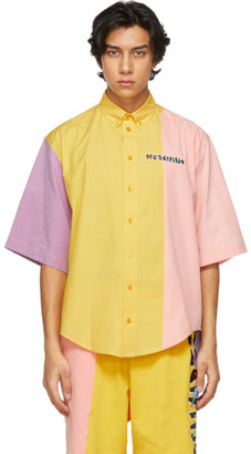 Moschino Multicolor Colorblock Geometric Logo Short Sleeve Shirt