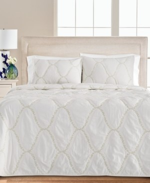 Martha Stewart Collection Floral Embroidered Geo King Quilt, Created for Macy's