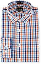 Neiman Marcus Trim-Fit Non-Iron Plaid Dress Shirt, Orange/Blue