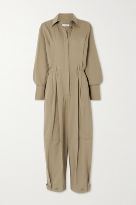 Givenchy Pleated Cotton Jumpsuit - Army green