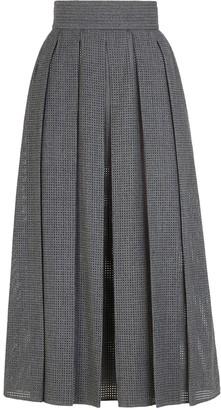 Fendi Grey Flannel Mesh Wool Midi Skirt