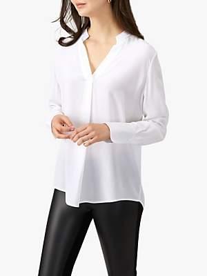 Pure Collection Silk Ribbon Trim Blouse, Antique White