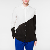 Paul Smith Women's White And Black Panelled Silk Shirt