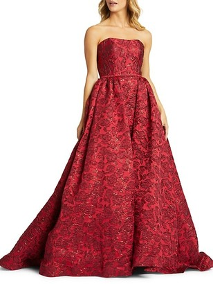 Mac Duggal Rose-Print Ball Gown