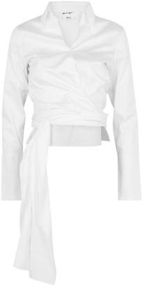 The Line By K Jett White Poplin Wrap Shirt