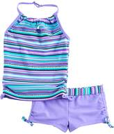 Free Country Girls 4-16 Knot Front Halter Tankini Top & Shorts Swimsuit Set