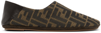 Fendi Brown Jacquard Forever Loafers