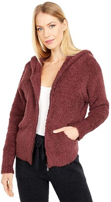Barefoot Dreams Cozychic Relaxed Zip-Up Hoodie (Rosewood) Women's Clothing