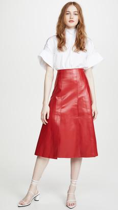 A.W.A.K.E. Mode Faux Leather Multi Panel Skirt