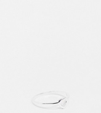 ASOS DESIGN Curve sterling silver ring in open heart design