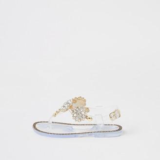 River Island Mini girls clear diamante embellished sandals