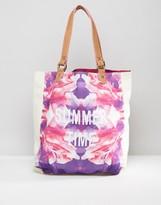 South Beach Summer Time Floral and Neon Print Beach Bag