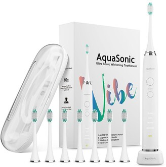 Aquasonic VIBE Series White UltraSonic Whitening Toothbrush with 8 DuPont Brush Heads & Travel Case