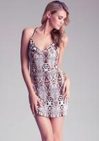 Bebe Cowl Neck Triangle Dress