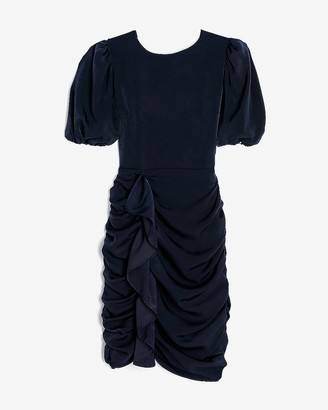 Express Puff Sleeve Ruched Ruffle Dress