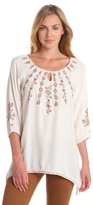 Chaudry Women's 3/4 Sleeve Asymmetrical Keyhole Embroided Top