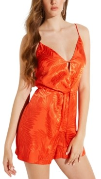 GUESS Desta Palm Sleeveless Jacquard Romper