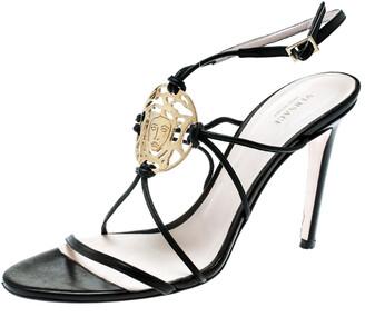 Versace Black Leather Medusa Logo Ankle Strap Sandals Size 39