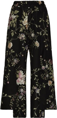By Walid Robin floral-embroidered silk trousers