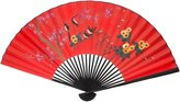 Oriental Furniture Simple Asian Art, Decor and Gifts, 35-Inch Chinese Lucky Red Painted Decorative Wall Fan, Birds on Tree No.2