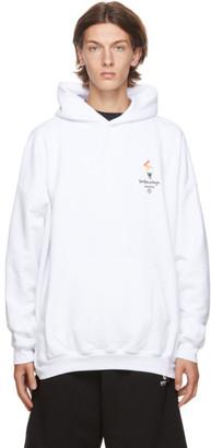 Balenciaga White Embroidered Flame Hoodie