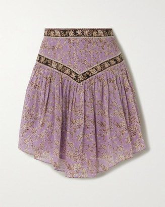 Etoile Isabel Marant Valerie Pintucked Floral-print Cotton-voile Skirt - Lilac
