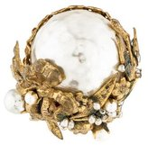 Miriam Haskell Hammered Pearl Brooch