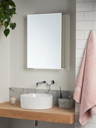 John Lewis & Partners Aspect Single Mirrored and Illuminated Bathroom Cabinet