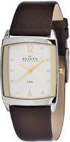 Skagen Women's Designer 691SSLG Brown Leather Quartz Watch with White Dial