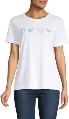 DKNY Glitter Logo Cotton-Blend Tee