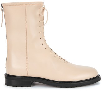 LEGRES Ecru leather ankle boots